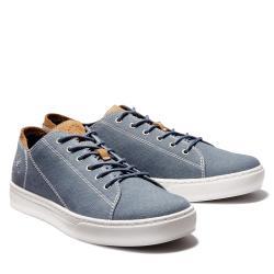 Timberland 男款藍色帆布休閒鞋A1ZQV432