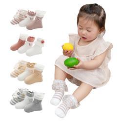 [6雙入]兒童寶寶襪 刺繡木耳邊蝴蝶結花邊公主襪