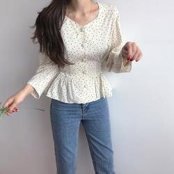 【GF 快時尚】簡約排扣波點綁袋造型上衣 (S~XL)