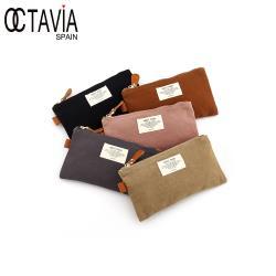 OCTAVIA8 - 收納狂  棉布配皮口罩筆袋3C萬用收納小包 - 五色可選