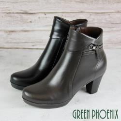 GREEN PHOENIX 翻領繞踝扭結水鑽全真皮高跟短靴/馬靴U15-20083