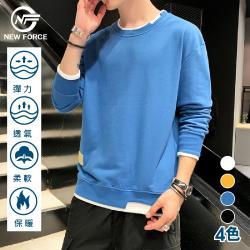 NEW FORCE 韓系潮款保暖假兩件圓領衫 四色可選