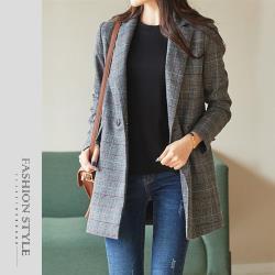 【GF 快時尚】簡約格紋翻領排釦西裝外套 (M~2XL)