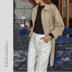 【GF 快時尚】簡約翻領腰間綁袋造型外套 (M~2XL)