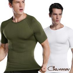 Charmen NY128圓領X字挺背收腹短袖 男性塑身衣 兩色任選