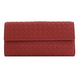BOTTEGA VENETA 134075 手工編織羊皮扣式長夾.中國紅
