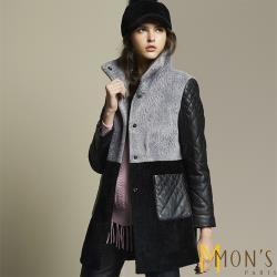 MONS 獨家限量精品設計水波紋皮草大衣