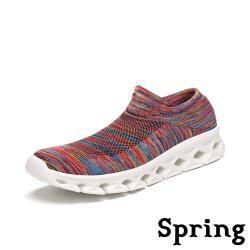 【SPRING】超輕量3D飛織襪套式高彈力刀切大底運動休閒鞋 彩線