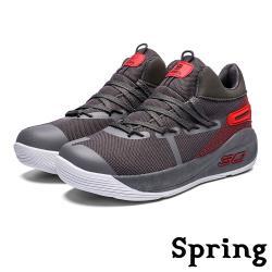【SPRING】個性設計色塊拼接彈力飛織潮流厚底運動休閒鞋 深灰