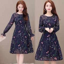 【韓國K.W.】雪紡印花氣質蕾絲長袖洋裝