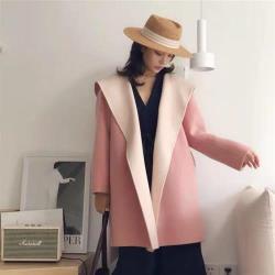 【米蘭精品】羊毛大衣毛呢外套-連帽雙色腰帶中長款女外套5色73yy4
