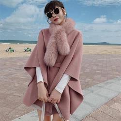 【米蘭精品】羊毛大衣毛呢外套-寬鬆大口袋綁帶狐狸毛領女外套3色73yy18