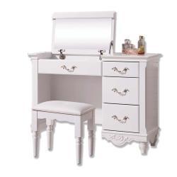 Boden-黛絲3.2尺法式歐風白色掀蓋式化妝桌/鏡台/梳妝台(贈化妝椅)