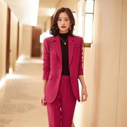 【米蘭精品】西裝套裝外套+長褲(兩件套)-繫帶純色抗皺免燙女西服3色73yz37