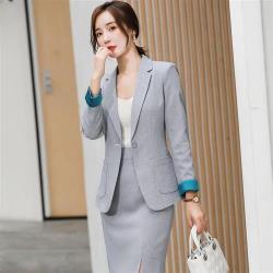 【米蘭精品】西裝套裝外套+褲/裙(兩件套)-修身一粒扣口袋時尚女西服8款73yz50