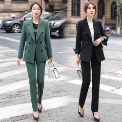 【米蘭精品】西裝套裝外套+長褲(兩件套)-雙排扣繫帶純色秋季女西服2色73yz36