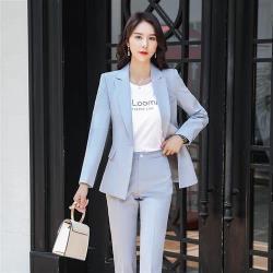 【米蘭精品】西裝套裝外套+長褲(兩件套)-翻領修身優美俐落女西服4色73yz9