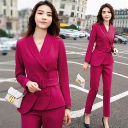 【米蘭精品】西裝套裝外套+長褲(兩件套)-純色繫帶免燙優雅女西服3色73yz43