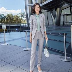 【米蘭精品】西裝套裝外套+長褲(兩件套)-條紋幹練氣質時尚女西服2色73yz25