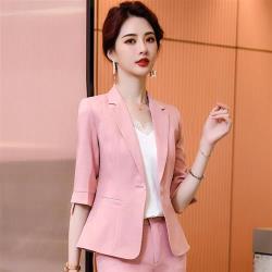 【米蘭精品】西裝套裝外套+長褲(兩件套)-一粒扣純色俐落中袖女西服2色73yz40