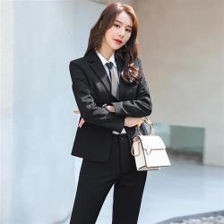 【米蘭精品】西裝套裝外套+長褲(兩件套)-經典純色優雅秋季女西服3色73yz29