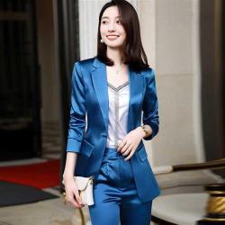 【米蘭精品】西裝套裝外套+長褲(兩件套)-緞面輕奢時尚薄款女西服4色73yz31