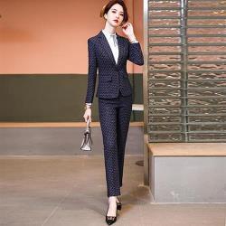 【米蘭精品】西裝套裝外套+長褲(兩件套)-磚格印花抗皺秋冬女西服2色73yz38