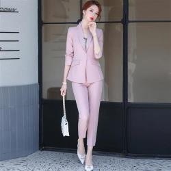 【米蘭精品】西裝套裝外套+長褲(兩件套)-簡約修身一粒扣純色女西服3色73yz30