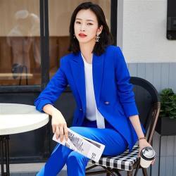 【米蘭精品】西裝套裝外套+長褲(兩件套)-純色耐磨防皺時尚女西服2色73yz13