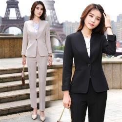 【米蘭精品】西裝套裝外套+長褲(兩件套)-簡約單扣V領百搭女西服2色73yz45