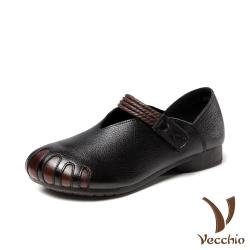 【Vecchio】真皮頭層牛皮復古編織魔鬼粘舒適寬楦軟底低跟娃娃鞋 黑