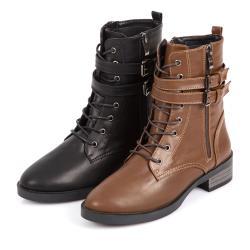 Love Girl 時髦有型雙繫帶釦環拉鍊造型綁帶短靴