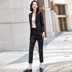 【米蘭精品】西裝套裝外套+長褲(兩件套)-亮絲條紋休閒百搭女西服2色73yz24