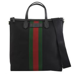 GUCCI 619751 經典綠紅綠織帶帆布兩用直立托特包.黑