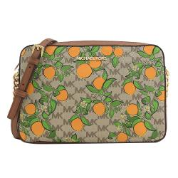 MICHAEL KORS JET SET ITEM 橙橘印花斜背方包.咖