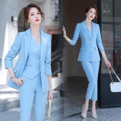【米蘭精品】西裝套裝三件套-純色外套+馬甲+長褲女西服3色73yz6