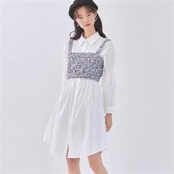 連身裙 兩件式排扣收腰長袖洋裝JZ14331-創翊韓都