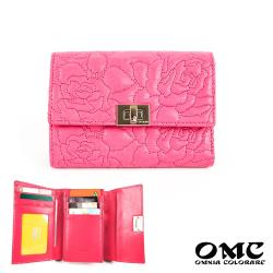 【OMC】10卡1照玫瑰針織轉扣牛皮中夾-粉色
