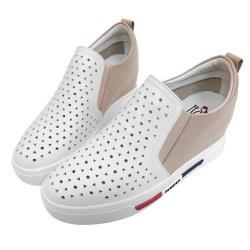 Robinlo 撞色牛皮拼接圓形沖孔內增高休閒鞋 AILMER-白/粉