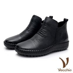 【Vecchio】真皮頭層牛皮個性幾何壓紋復古手工縫線軟底舒適短靴 黑