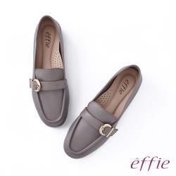 【新品】effie 全真皮軟Q飾釦樂福鞋-灰(網獨款)