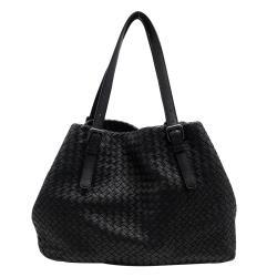 【BOTTEGA VENETA】經典小羊皮編織肩背購物包(黑)