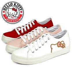 HELLO KITTY 可愛刺繡凱蒂貓綁帶造型平底休閒鞋/小白鞋N-20123