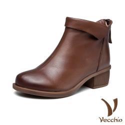 【Vecchio】真皮頭層牛皮復古經典翻領造型舒適粗跟短靴 棕