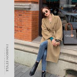 【GF 快時尚】簡約綁袋排扣保暖毛呢大衣 (S~XL)