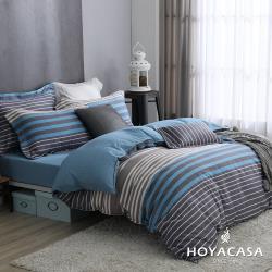 HOYACASA  雙人抗菌精紡棉兩用被床包四件組-維尼斯