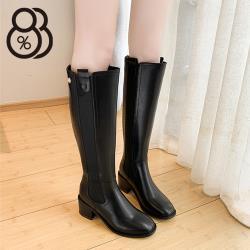 【88%】 5.5CM長靴 率性百搭彈力針織內刷毛 筒高37CM皮革後拉鍊方頭粗跟靴 切爾西靴 黑靴