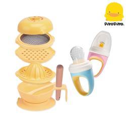 黃色小鴨PiyoPiyo-嬰幼兒七件組食物調理器+副食品咬咬棒