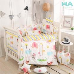 【HA Baby】嬰兒床專用-四面床圍+床單(適用 長x寬120cmx70cm嬰兒床型 嬰兒床床包、嬰兒床床單)