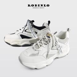 Robinlo 街頭甜美透氣網面牛皮拼接厚底老爹鞋PETERS-黑/米白